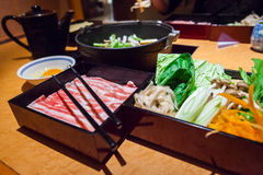 Japanese shabu shabu set Royalty Free Stock Photo
