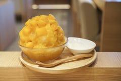 Mango Kakigori Japanese shaved ice. royalty free stock photos