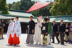 Japanese shinto wedding ceremony. Traditionally, the religious wedding ceremony is held in Shinto style at a shrine. Nowadays, this shrine may be located inside stock photos