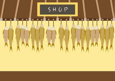 Japanese shop ,fresh fish at the asia market ,Vector illustrations Stock Photo