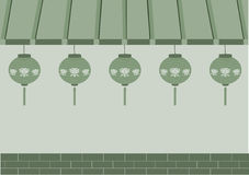 Japanese shop and lamp on green backgrounds, illustration. Japanese shop and lamp on green backgrounds Royalty Free Stock Photography
