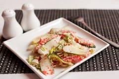 Japanese Shrimp Salad with cucumber and caviar royalty free stock photos