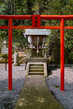 Japanese shrine. Behind the big Japanese shrine is a small one Stock Photo