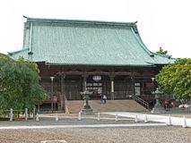 Japanese shrine. Japanese temple in Tokyo with a green roof stock photo