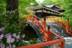 Japanese Shrine Bridge. Curved Japanese shrine bridge in Kyoto, Japan Royalty Free Stock Photo