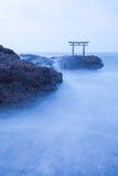 Japanese shrine gate and sea Royalty Free Stock Photo