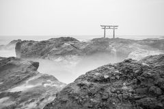 Japanese shrine gate and sea Royalty Free Stock Images