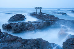 Japanese shrine gate and sea at Oarai city Stock Photography
