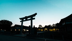Japanese Shrine Gate silhouette shadow Royalty Free Stock Images