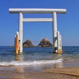Japanese Shrine in the ocean. A beautiful sunny day on the Japanese west coast Stock Photography