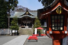 Japanese shrine precincts. The construction of religion / Japanese shrine stock photos