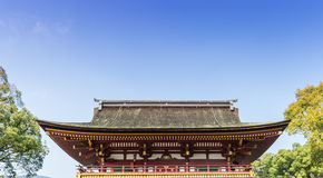Japanese Shrine Roof with top copy space. Japanese Shrine Roof with top csky opy space stock image