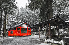 Japanese shrine in a snow blizzard Royalty Free Stock Images