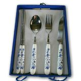 Japanese silverware china blue spoon knife fork chop sticks Decorative antique case. Decorative Japanese silverware photo image Stock Image