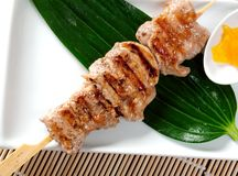 Japanese skewered chicken,Yakitori. Closeup Royalty Free Stock Photography