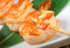 Japanese skewered  royal prawn Royalty Free Stock Image