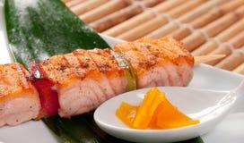 Japanese skewered salmon Royalty Free Stock Photo