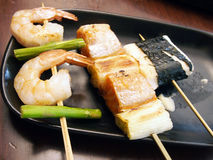 Japanese skewered seafoods Stock Photo