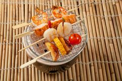 Japanese skewered  seafoods vegetables Stock Photos