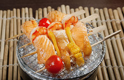Japanese skewered  seafoods. Vegetables ,Yakitori  .closeup Stock Image