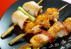 Japanese skewered  seafoods Yakitori. Japanese skewered  seafoods ,Yakitori  .closeup Royalty Free Stock Image