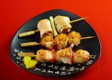 Japanese skewered  seafoods Yakitori Royalty Free Stock Photos