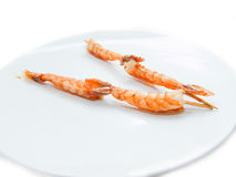 Japanese skewered with  Shrimp on white plate.isolated on white Royalty Free Stock Photos