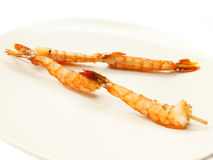 Japanese skewered with  Shrimp on white plate. on white Stock Image