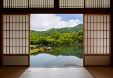 Japanese sliding doors and beautiful pond garden Royalty Free Stock Images