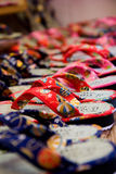 Japanese Slippers. Colorful Japanese slippers sold on the street near the famous Kiyomizu Temple in Kyoto, Japan Royalty Free Stock Photo