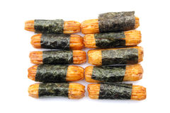 Japanese snack , Norimaki Arare. On white background Stock Images