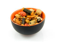Japanese snacks in bowl Royalty Free Stock Image