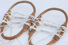 Japanese snow shoes(Kanjiki). On  snow field in  winter Stock Image