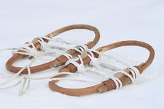 Japanese snow shoes(Kanjiki). On  snow field in  winter Stock Images
