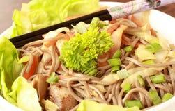 Japanese Soba. Close-up of Japanese Soba with Chopstick Stock Photos