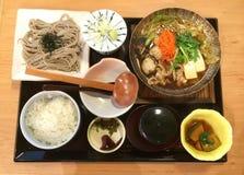 Japanese soba noodle sukiyaki set Stock Photos
