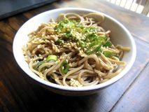 Japanese soba noodles. Japanese buckwheat soba noodles with sesame seeds Stock Photos