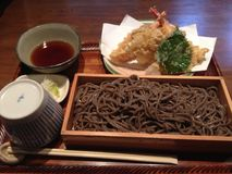 Japanese Soba. Soba noodles with tempura on lunch time Stock Photos