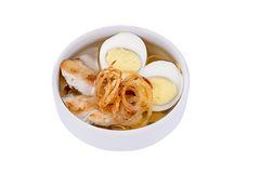 Japanese soba soup. On a white  background Stock Image