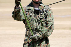 Japanese soldier with military uniform. Japanese soldier with military camouflage uniform Stock Image
