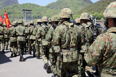 Japanese soldiers at the military base Stock Photo