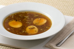 Japanese Soup with Eggs Stock Photos