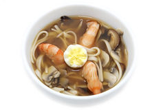 Japanese soup with prawns Royalty Free Stock Images