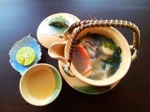 Japanese soup. Seafood soup from Okura hotel Bangkok Royalty Free Stock Image