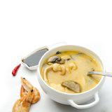 Japanese soup with seafood, shrimp, soybean Royalty Free Stock Images