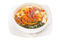 Japanese Soup with Seaweed and Tofu Cheese Stock Photo