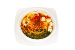 Japanese Soup with Seaweed and Tofu Cheese Royalty Free Stock Photos