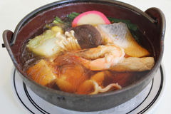 Japanese soup with vermicelli and mix of meat and Royalty Free Stock Photos