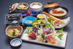 Japanese special meal with sushi tuna, shrimp, shell, fried fish Stock Photo