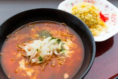 Japanese spicy ramen Royalty Free Stock Images